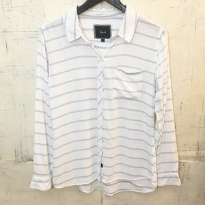 Rails White and Blue Striped Button Down Shirt